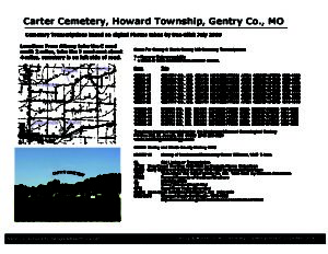 Carter Cemetery, Howard Twp., Gentry Co., Missouri