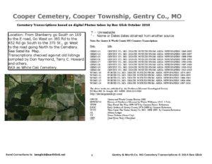 Cooper Cemetery, Cooper Twp., Gentry Co., Missouri