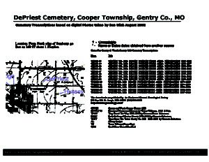 DePriest Cemetery, Cooper Twp., Gentry Co., Missouri