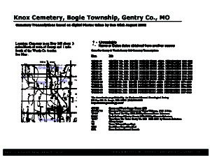 Knox Cemetery, Bogle Twp., Gentry Co., Missouri