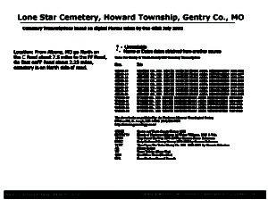 Lone Star Cemetery, Howard Twp., Gentry Co., Missouri