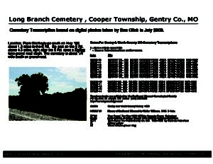 Long Branch Cemetery, Cooper Twp., Gentry Co., Missouri