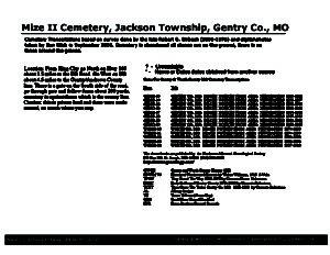 Mize II Cemetery, Jackson Twp., Gentry Co., Missouri