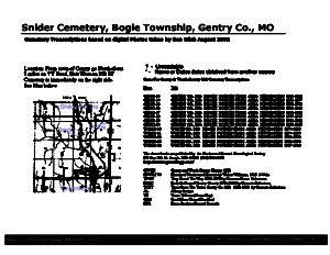 Snider Cemetery, Bogle Twp., Gentry Co., Missouri