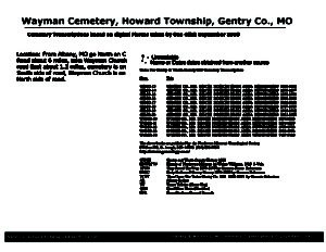 Wayman Cemetery, Howard Twp., Gentry Co., Missouri