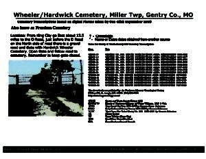 Wheeler-Hardwick Cemetery, Miller Twp., Gentry Co., Missouri