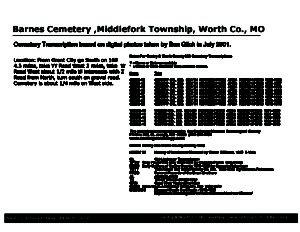 Barnes Cemetery, Middlefork Twp., Worth Co., Missouri