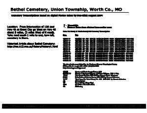Bethel Cemetery, Union Twp., Worth Co., Missouri
