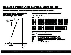 Freeland Cemetery, Allen Twp., Worth Co., Missouri