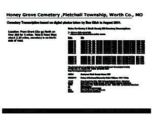 Honey Grove Cemetery, Fletchall Twp., Worth Co., Missouri