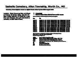 Isabelle Cemetery, Allen Twp., Worth Co., Missouri