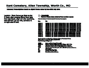 Kent Cemetery, Allen Twp., Worth Co., Missouri