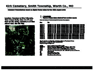 Kirk Cemetery, Smith Twp., Worth Co., Missouri