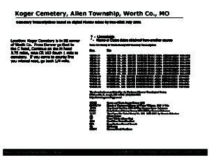 Koger Cemetery, Allen Twp., Worth Co., Missouri