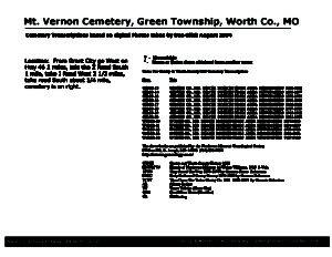 Mount Vernon Cemetery, Green Twp., Worth Co., Missouri